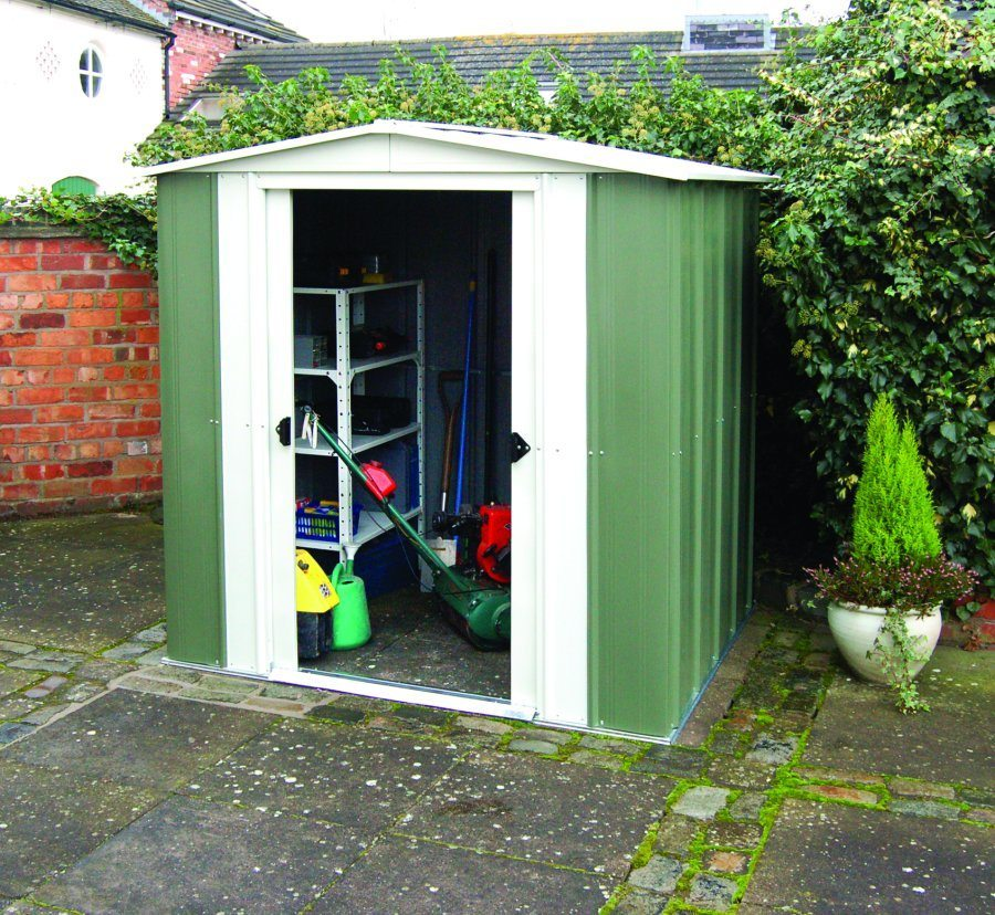 Metal apex 8x6 shed cheap durable storage cornwall and devon for Durable sheds