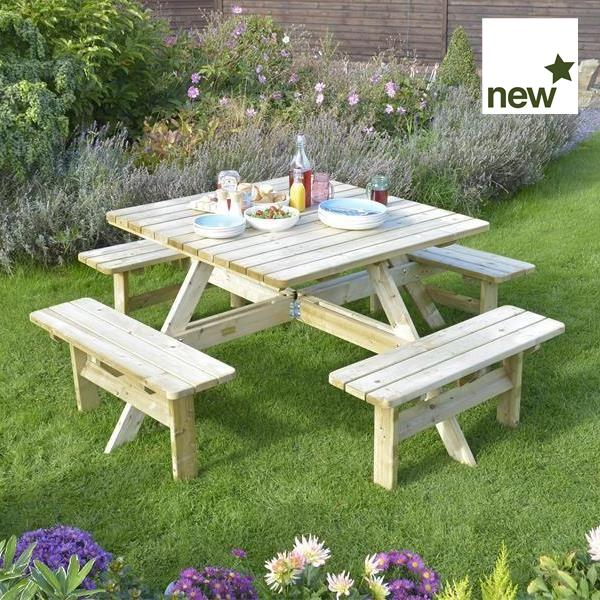 Square Picnic Table by Rowlinsons
