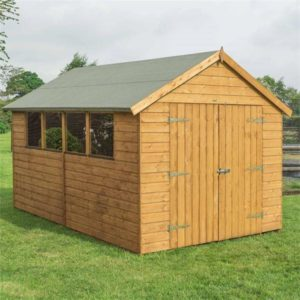 Dipped Shed 12x8 shown with four fixed windows and secured double doors.