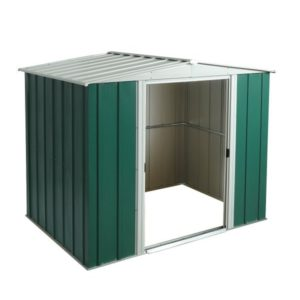 Metal Apex 8x6 shed, the Greenvale metail shed is already pre-painted in green and white