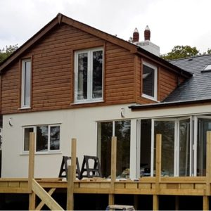 Upper elevation of this property rebuild using tanalised shiplap
