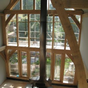 Large sections of green oak in this timber frame