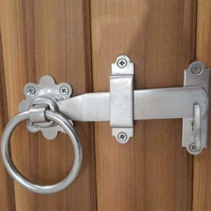 In this picture we have a a4 marine grade stainless steel ring latch fixed to western red cedar