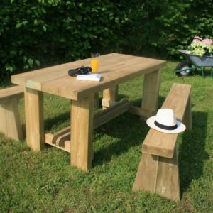 The upgraded Melrose dining set, a sturdy dining table; plus two matching benches