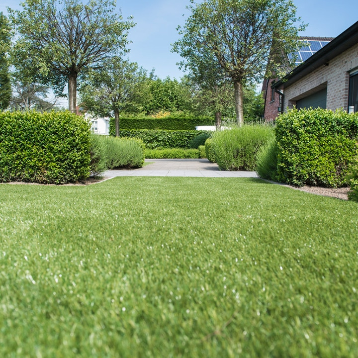Sway artificial grass. Image shows sawy artifical grass in formal garden with hedges and mature trees
