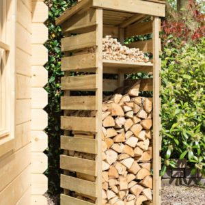 A narrow log store from the Rowlinsons garden storage range