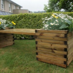 Large square planters joined with useful sized bench seating