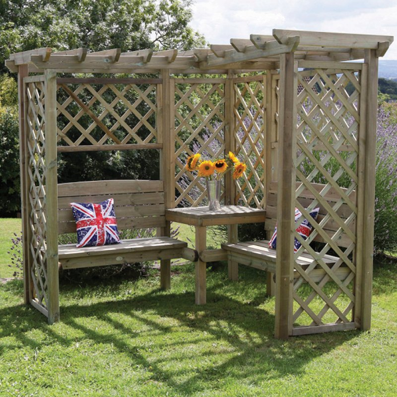 Corner seating in this attractive Avon Corner Arbour