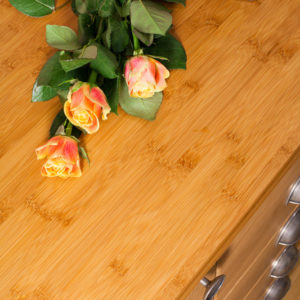 "Caramel bamboo worktops have warmer, deeper colours than ""Normal"" bamboo"
