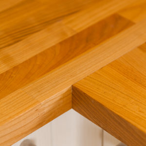 These cherry worktops have been jointed at right angles to one another