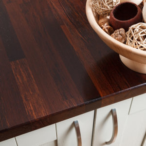Wenge worktop showing very deep, dark colours