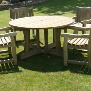 The Cotswold Round Dining Set includes Table plus four sturdy Cotswold chairs
