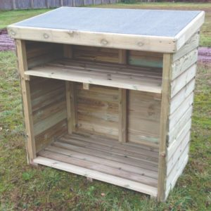 Enclosed Log Store has shelf for small logs or kindling