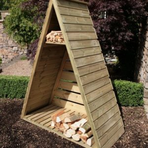 Stylish triangular log store from Hutton garden and landscaping range